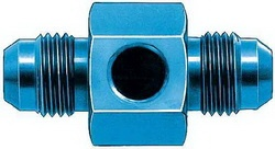 Aeroquip FBM2183 In-Line Fuel Pressure Adapter -06AN x -06AN x 1/8in. Aluminum Blue Anodized Bulk Packaged