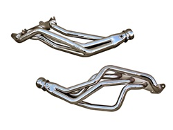 BBK Performance 16340 Full Length Performance Header Silver Ceramic 1.75 in. Tube 3 in. Dia. Collector Coyote 5.0 Into Fox Body Chrome