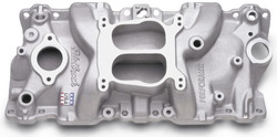 Edelbrock 2104 SBC Performer Series  Intake Manifold  Cast Finish  Non-EGR Idle-5500 rpm 262-400 For 4 bbl Carbs For Cast Iron Heads Street Legal