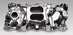 Edelbrock 21011 SBC Performer Series  Intake Manifold  Polished Finish  Non-EGR Idle-5500 rpm 86 And Earlier 262-400 OEM 4 bbl or Edelbrock Carb Part Number 1400 Street Legal Street/Hi Perf. Use