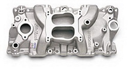 Edelbrock 21041 SBC Performer Series  Intake Manifold  Polished Finish  Non-EGR Idle-5500 rpm 262-400 For 4 bbl Carbs For Cast Iron Heads Street Legal