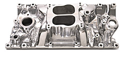 Edelbrock 21161 SBC Performer Vortec  Intake Manifold  Polished Finish  Street Rod  Dual Plane 262-400  For 4 bbl Carbs  Non-EGR  Idle-5500 rpm  Street/Hi Performance Use