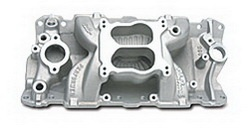 Edelbrock 2601 SBC Performer Air-Gap Series  Intake Manifold  Cast Finish  55-86 262-400 cid  For 4 bbl Carbs  Non-EGR  Idle-5500 rpm  Street/Hi Perfmance Use