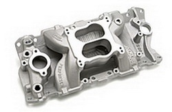 Edelbrock 2604 SBC Performer Air-Gap Series  Intake Manifold  Cast Finish  87-95 262-400  For 4 bbl Carbs w/Cast Iron Heads  Non-EGR  Idle-5500 rpm
