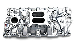Edelbrock 27011 SBC Performer EPS  Intake Manifold  Polished Finish  Non-EGR  Idle-5500 rpm  262-400 cid  For 4 bbl Carbs  Street/Hi Performance Use