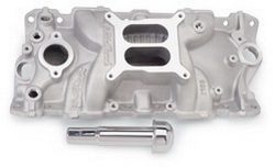 Edelbrock 2703 SBC Performer EPS  Intake Manifold  Cast Finish  Non-EGR  Idle-5500 rpm  w/Oil Fill Tube/Breather 262-400  For 4 bbl Carbs  Street/Hi Performance Use