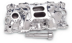 Edelbrock 27034 SBC Performer EPS  Intake Manifold  Endurashine  Non-EGR  Idle-5500 rpm  w/Oil Fill Tube/Breather  262-400  For 4 bbl Carbs  Street/Hi Performance Use Only