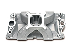 Edelbrock 2926 SBC Super Victor Series  Intake Manifold  Non-EGR  3500-8000 rpm 262-400 cid  Raised Port 23 deg. Head  For 4 bbl Carbs  Racing Use Only