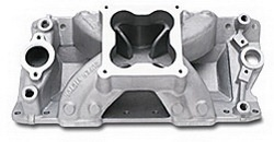 Edelbrock 2971 SBC Super Victor 4500  Intake Manifold  Non-EGR  3500-8000 rpm  Raised Port 23 deg. Head 262-400  For 4500 Series 4 bbl Carbs  Racing Use Only