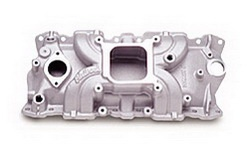 Edelbrock 50011 SBC Torker II Series  Intake Manifold  Polished Finish  Non-EGR  2500-6500 rpm  For 55-86 4 bbl Carb  Racing Use Only