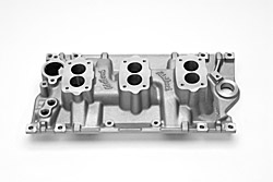 Edelbrock 5418 SBC C357-B Three-Deuce  Intake Manifold  For 3 Bolt Carbs  Non-EGR  Idle-5500 rpm  55-86 262-400 cid  3x2 bbl Carb  Street/Hi Performance Use