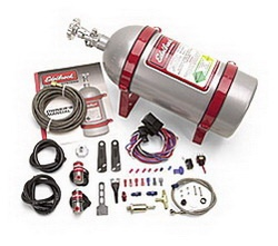 Edelbrock 71820 Nitrous Performer EFI Wet System  Universal  4 cyl. And 6 cyl.  50/60/70 HP  Silver Powdercoated