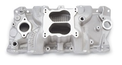 Edelbrock 7104 SBC Performer RPM Q-Jet  Intake Manifold  Cast Finish  Non-EGR 1500-6500 rpm 55-86 262-400  For   For Spread-Bore 4 bbl Carbs
