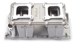 Edelbrock 7110 SBC Street Tunnel Ram  Intake Manifold  Cast Finish  EGR  3500-7500 rpm  302-400  For 2-4 bbl Carbs  Street/Hi Performance Use