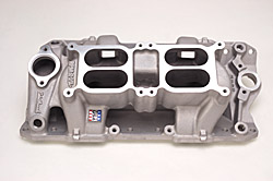Edelbrock 7525 SBC RPM Air Gap Dual-Quad   Intake Manifold  Cast Finish  Non-EGR 1500-6500 rpm For Square-Bore Carbs 262-400 Street/Hi Performance Use