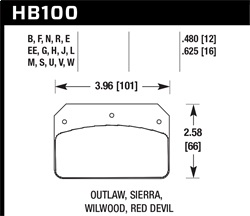 Hawk Performance HB100J.480 Disc Brake Pad DR-97 w/0.480 Thickness Fits Wilwood DL Outlaw Sierra