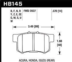 Hawk Performance HB145F.570 Disc Brake Pad HPS Performance Street w/0.570 Thickness