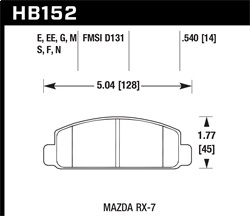 Hawk Performance HB152F.540 Disc Brake Pad HPS Performance Street w/0.540 Thickness