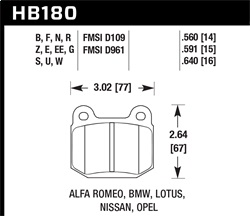 Hawk Performance HB180U.640 Disc Brake Pad DTC-70 w/0.640 Thickness