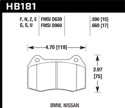Hawk Performance HB181E.660 Disc Brake Pad Blue 9012 w/0.660 Thickness