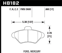 Hawk Performance HB182E.660 Disc Brake Pad Blue 9012 w/0.660 Thickness