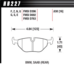 Hawk Performance HB227F.630 Disc Brake Pad HPS Performance Street w/0.630 Thickness