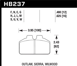 Hawk Performance HB237H.480 Disc Brake Pad DTC-05 w/0.480 Thickness Fits Wilwood BB