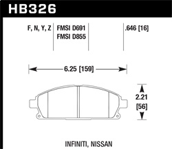 Hawk Performance HB326Y.646 Disc Brake Pad LTS w/0.646 Thickness