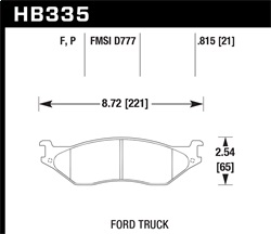 Hawk Performance HB335F.815 Disc Brake Pad HPS Performance Street w/0.815 Thickness