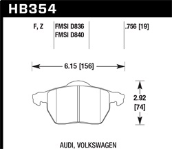 Hawk Performance HB354Z.756A Disc Brake Pad Performance Ceramic w/0.756 Thickness Oval w/One Square End