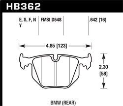 Hawk Performance HB362N.642 Disc Brake Pad HP Plus w/0.642 Thickness