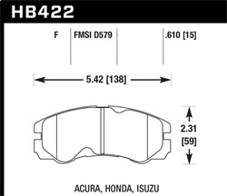 Hawk Performance HB422Y.610 Disc Brake Pad LTS w/0.610 Thickness