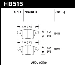 Hawk Performance HB515Z.760 Disc Brake Pad Performance Ceramic w/0.760 Thickness