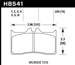 Hawk Performance HB541H.630 Disc Brake Pad DTC-05 w/0.630 Thickness Fits Wilwood
