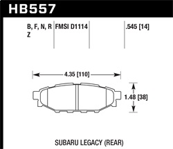 Hawk Performance HB557N.545 Disc Brake Pad HP Plus w/0.545 Thickness