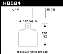 Hawk Performance HB584W.485 Disc Brake Pad DTC-30 w/0.485 Thickness Fits Aerospace Single Dynalite w/0.218 in. Hole