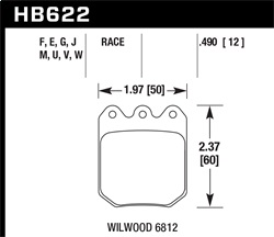 Hawk Performance HB622F.490 Disc Brake Pad HPS w/0.490 Thickness Fits Wilwood DLS