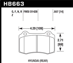 Hawk Performance HB663G.557 Disc Brake Pad DTC-60 w/0.557 Thickness
