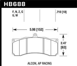 Hawk Performance HB688G.710 Disc Brake Pad DTC-60 w/0.710 Thickness Fits AP Racing Stop Tech
