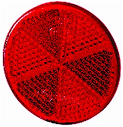 Hella 002014081 2014 Reflex Reflector 60mm Dia. Round Red Lens ECE Approved w/Adhesive