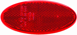 Hella 343160002 3160 Reflex Reflector Oval Red Lens w/Adhesive SAE Approved