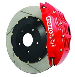 Centric-Power Slot 83.487.0023.71 Stoptech Big Brake Kit Red/Slotted Rear Incl. ST-22 Caliper 328x28mm Rotors Does Not Fit Stock Wheels
