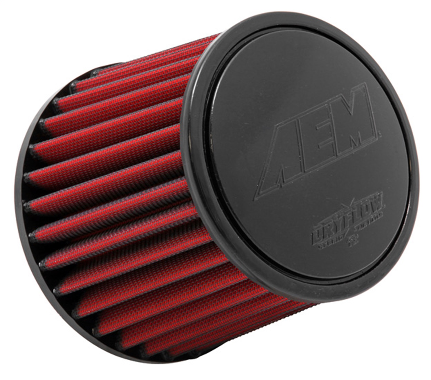 "Aem Dryflow Red Round Tapered Air Filter 2.75"" Flange/6"" Base/5.125"" Top/5.25""High 21-202DK"