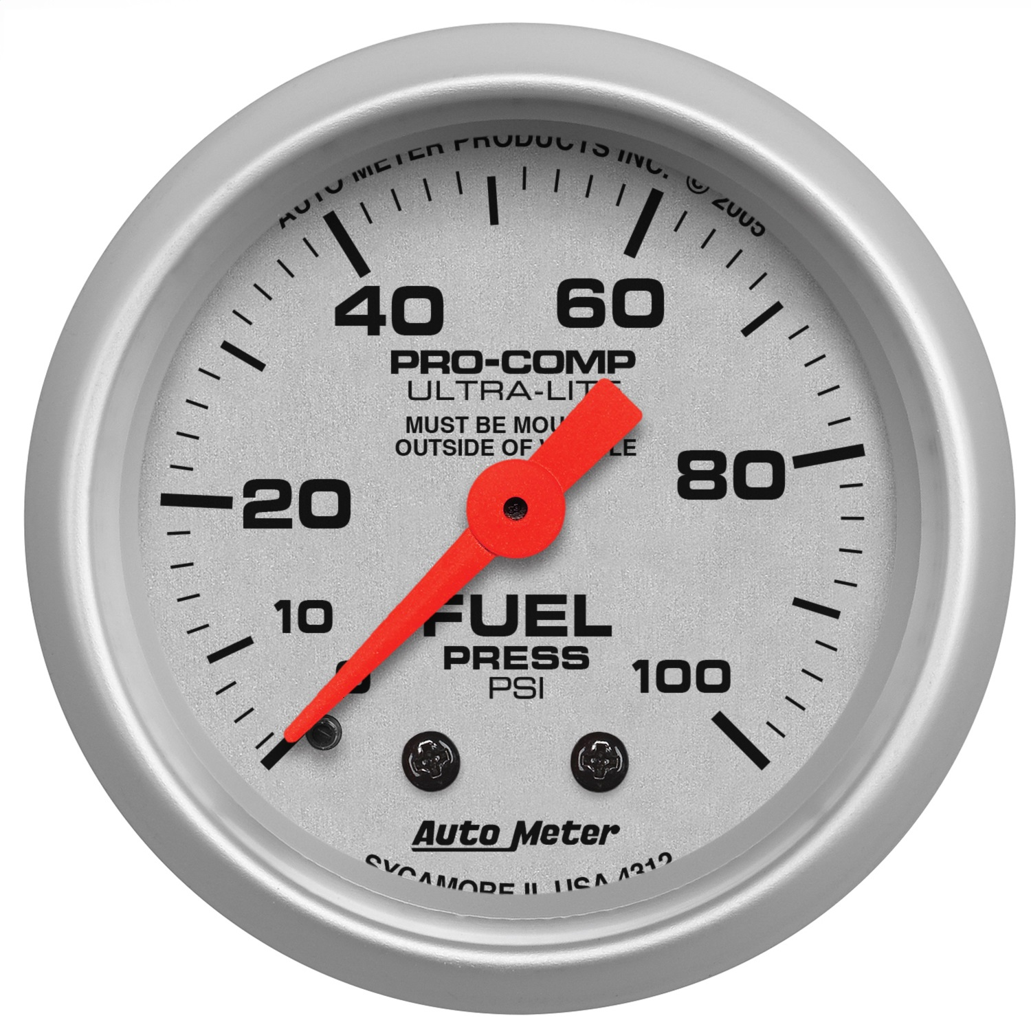 Autometer 4368 Ultra Lite Electric Water Pressure Gauge: AutoMeter 4312 Ultra-Lite Mechanical Fuel Pressure Gauge