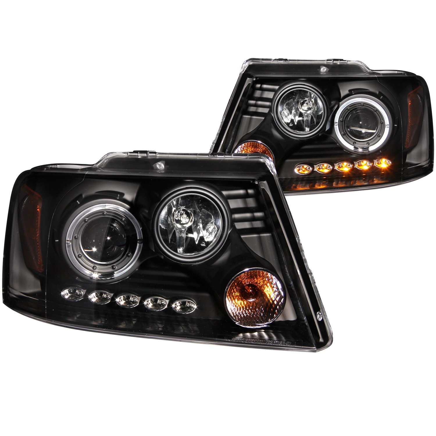 Anzo USA 111028 Projector Headlight Set w/Halo Fits 04-08 F-150 Mark LT