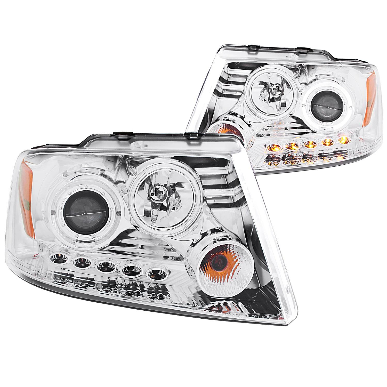 Anzo USA 111029 Projector Headlight Set w/Halo Fits 04-08 F-150 Mark LT
