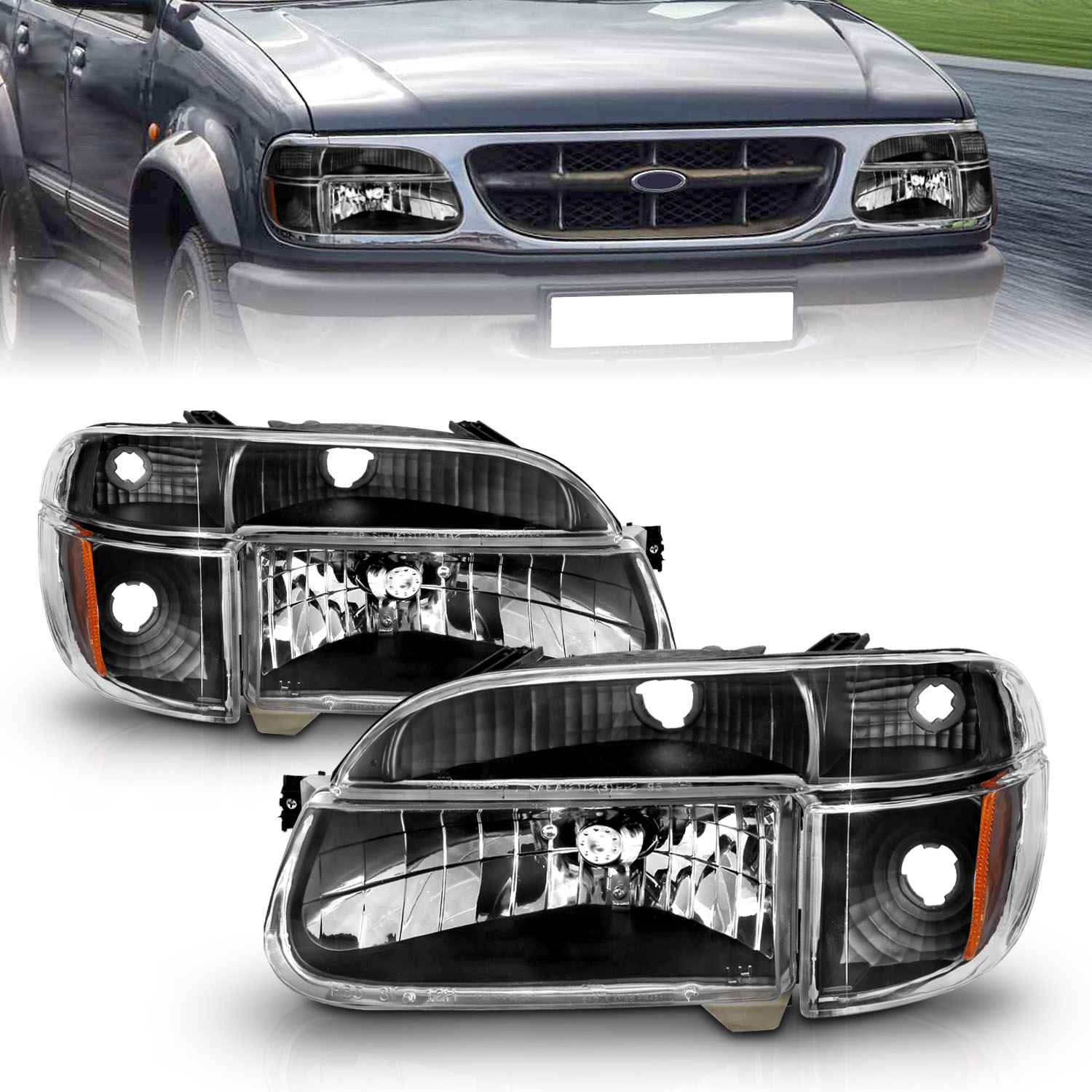 Anzo USA 111039 Crystal Headlight Set Fits Explorer Explorer (Stripped Chassis)