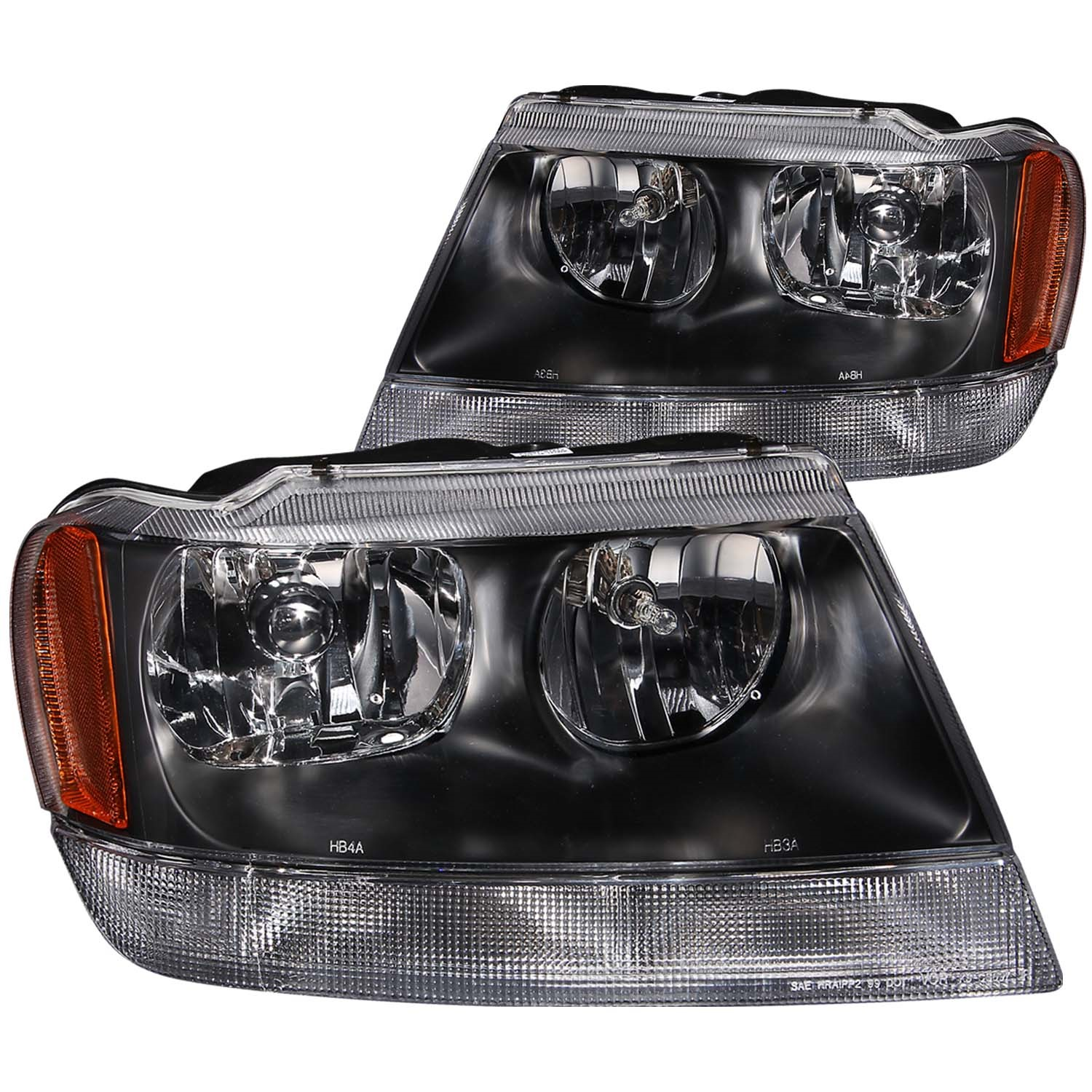 Anzo USA 111042 Crystal Headlight Set Fits 99-04 Grand Cherokee
