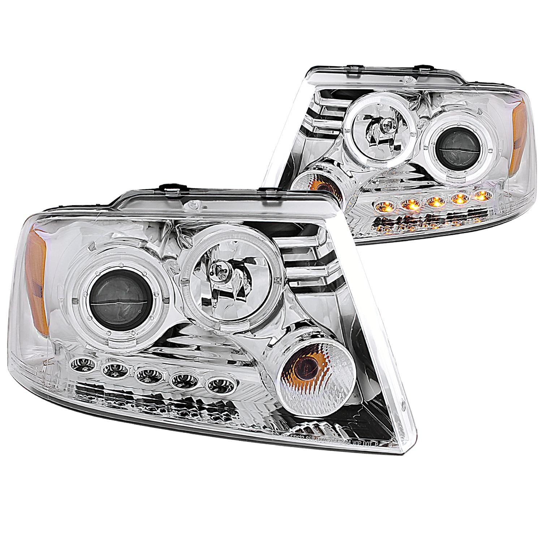 Anzo USA 111203 Projector Headlight Set w/Halo Fits 04-08 F-150 Mark LT