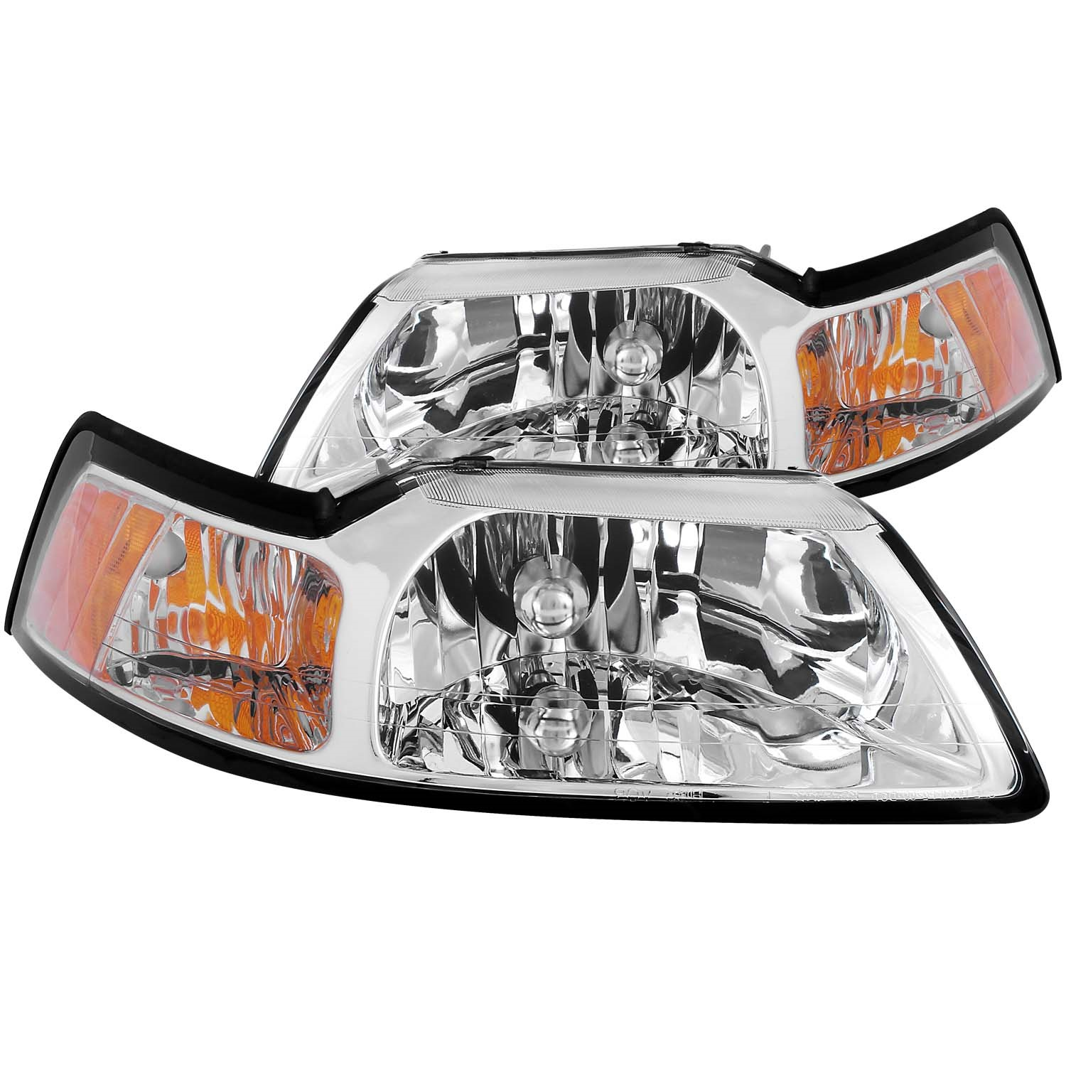 Anzo USA 121041 Crystal Headlight Set Fits 99-04 Mustang